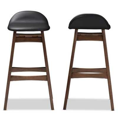 Baxton Studio Bloom Mid-century Retro Modern Scandinavian Style Black Faux Leather Upholstered Walnut Wood Finishing 30-Inches Bar Stool - Bloom Barstool-Black PVC (set of 2) - Lark Interiors