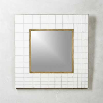 "marble mosaic square wall mirror 30"" - CB2"