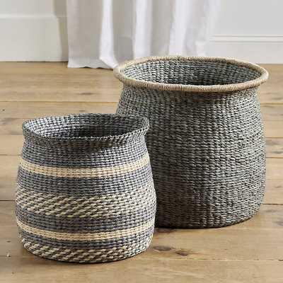 Ballard Designs Round Raffia Basket - Striped - Ballard Designs