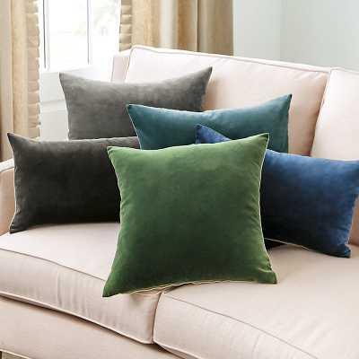 """Ballard Designs Signature Velvet & Linen Pillow - 20"""" Emerald - Ballard Designs"""