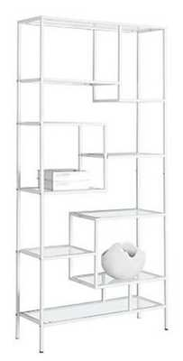 Monarch Specialties Bookcase - 72 Inch H / Silver Metal With Tempered Glass - Home Depot