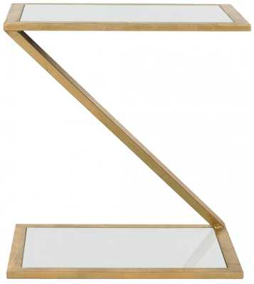 ANDREA GLASS TOP GOLD ACCENT TABLE - Arlo Home