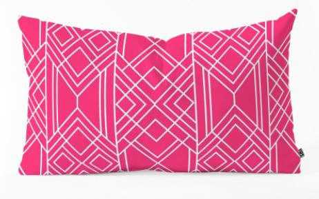 """ART DECO HOT PINK - Oblong Throw Pillow, 14"""" x 23"""" - Wander Print Co."""