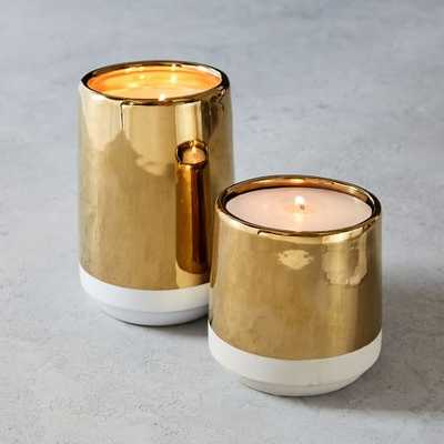 White + Gold Candle - large - West Elm