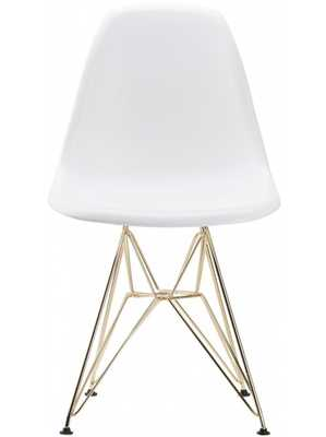Haven Dining Chair, White and Gold - Lulu and Georgia