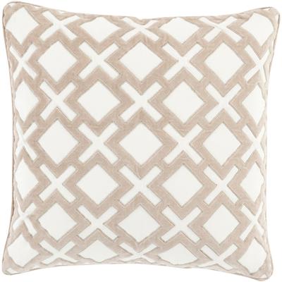 "Alexandria Pillow -  Taupe & Cream - 18"" x 18"" - Polyester insert - Neva Home"
