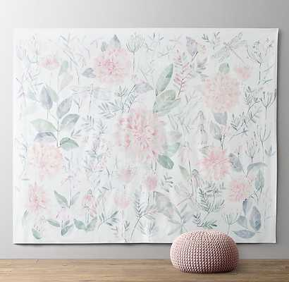 Botanical Watercolor Grand Canvas Wall Tapestry - RH Baby & Child