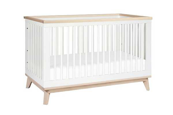 Scoot-3-in-1 Convertible Crib with Toddler Bed Conversion Kit - White with Washed Natural - Babyletto