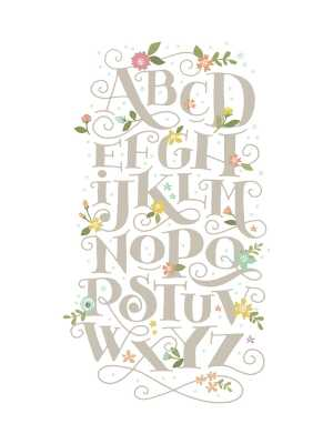 """Blooming Letters - 18"""" x 24"""" - Framed (White) - Minted"""