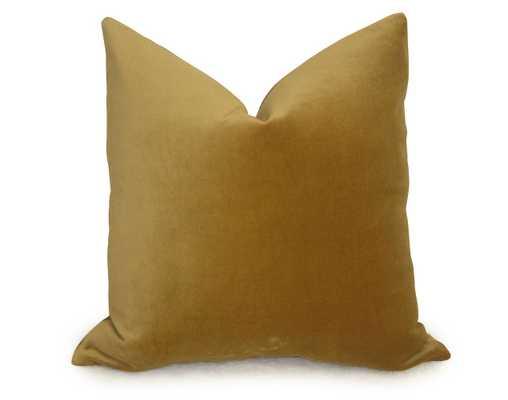 """Cotton Velvet Pillow Cover - Gold - 18"""" x 18"""" - Insert Sold Separately - Willa Skye"""