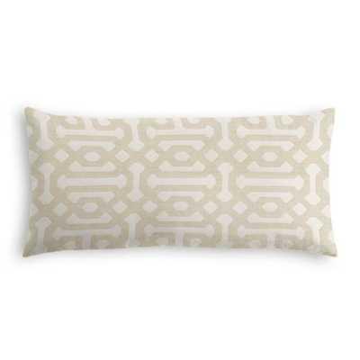 Lumbar Pillow - Sunbrella Fretwork - Flax w/ Down Insert - Loom Decor