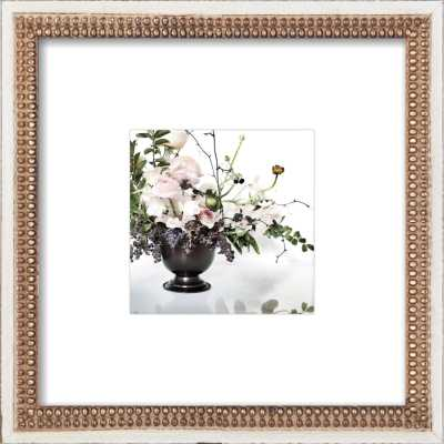 """Floral 2 - 8"""" x 8"""" - Distressed cream double bead wood with Mat - Artfully Walls"""