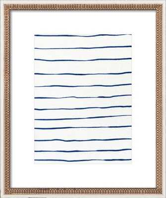 """Blue Stripes - 16x20"""" - Distressed Cream Double Bead Wood Frame with Matte - Artfully Walls"""