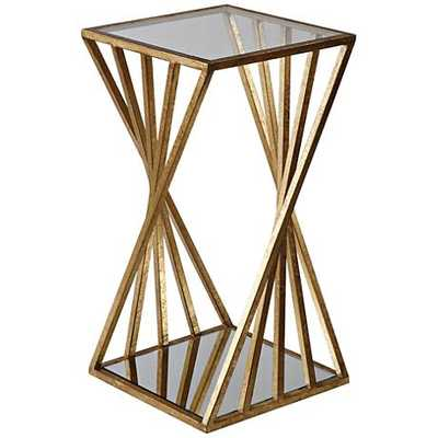 Hudsonhill Foundry Janina Glass Top Gold Leaf Accent Table clear - Hudsonhill Foundry