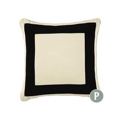 "Ballard Designs Outdoor Bordered Pillow Black 20""x20"" - Ballard Designs"