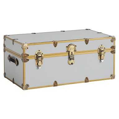 Dorm Trunk, Gray with Rubbed Brass, XXL - Pottery Barn Teen
