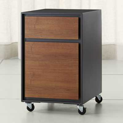 Pilsen File Graphite with Walnut Drawers - Crate and Barrel