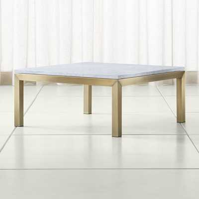 Parsons White Marble Top/ Brass Base 36x36 Square Coffee Table - Crate and Barrel