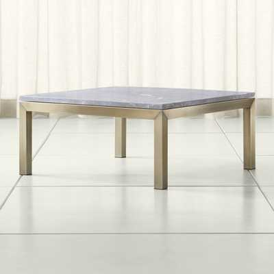 Parsons Grey Marble Top/ Brass Base 36x36 Square Coffee Table - Crate and Barrel