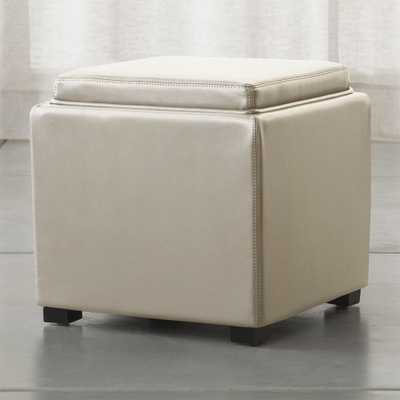 "Stow Oyster 17"" Leather Storage Ottoman - Crate and Barrel"