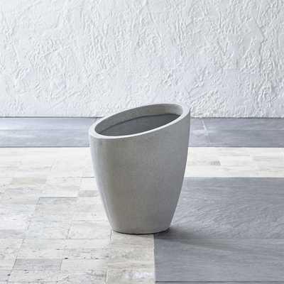 Slant Light Grey Short Planter - Crate and Barrel