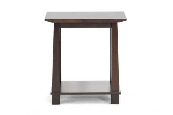 BAXTON STUDIO HAVANA BROWN WOOD MODERN END TABLE - Lark Interiors