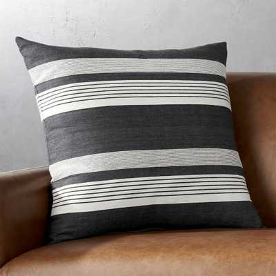 """20"""" Stripe Denim Pillow with Feather-Down Insert - CB2"""