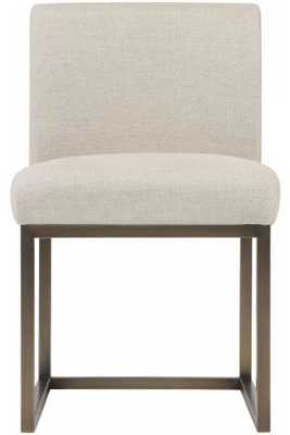 Lauren Beige Linen Chair in Brass - Maren Home