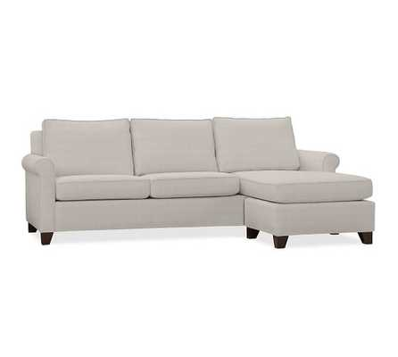 CAMERON ROLL ARM UPHOLSTERED SOFA WITH REVERSIBLE CHAISE SECTIONAL - Sunbrella Performance Boss Tweed Pebble - Pottery Barn