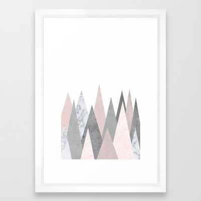 BLUSH MARBLE GRAY GEOMETRIC MOUNTAINS framed 15x21 - Society6