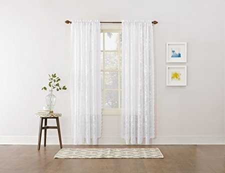 "No. 918 Alison Floral Lace Sheer Rod Pocket Curtain Panel, 58"" x 84"", White - Amazon"