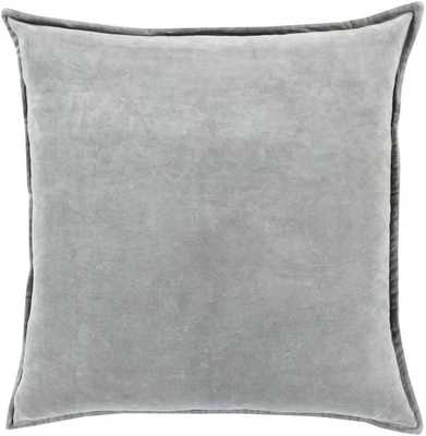 COTTON VELVET PILLOW POLY FILL - MISTY GREY - With Insert - art.com