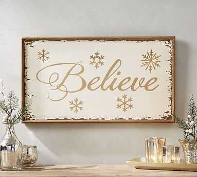 Believe Art, 13x23 - White/Gold - Pottery Barn