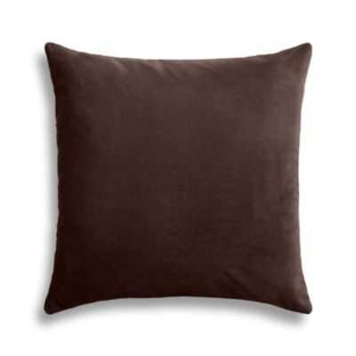 "Chocolate brown velvet throw pillow - 22"" x 22"" - Down insert - Loom Decor"