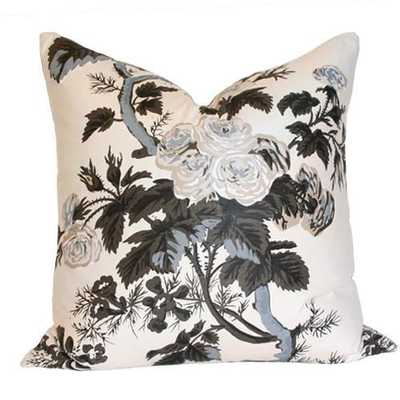 """Pyne Hollyhock Charcoal Pillow Cover - 20"""" x 20"""" - No Insert, Design A - Arianna Belle"""