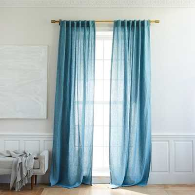 Belgian Flax Linen Melange Curtain - Blue Teal - West Elm
