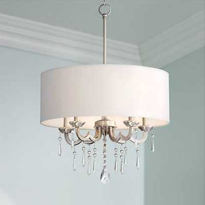 "Georgiana 20"" Wide White Shade Chandelier - Lamps Plus"
