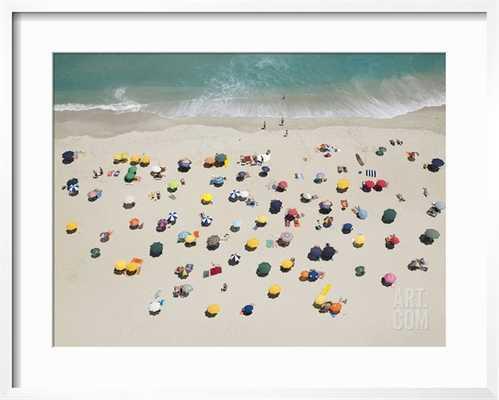 """UMBRELLA PATTERN ON BEACH - 30"""" x 24"""" - Framed-CHELSEA White - Width 0.75"""" Mat: Crisp - Bright White - art.com"""