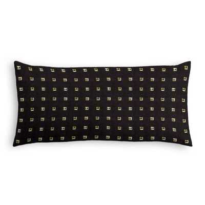 "Lumbar Pillow Stud Muffin - Black - 12"" x 24"" - Down Insert - Loom Decor"