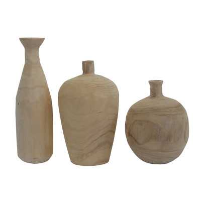 Bluff Canyon 3 Piece Paulownia Wood Vase Set - Birch Lane