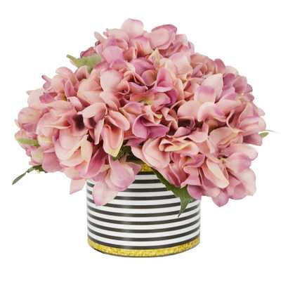 Hydrangea Bouquet in Striped Pot - AllModern