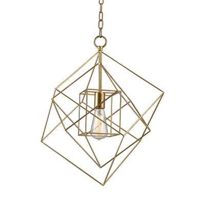 Neil 1-Light Box Pendant in Gold Leaf, Small - Rosen Studio