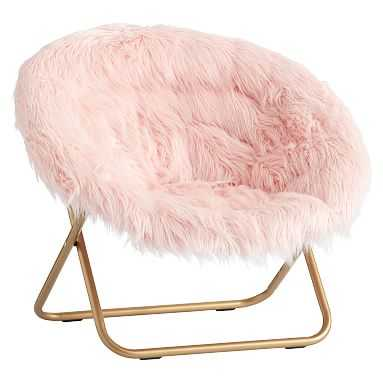 Hang-A-Round Chair, Himalayan Blush Faux-Fur w/ Gold Base - Pottery Barn Teen