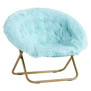Hang-A-Round Chair, Himalayan Plume Faux-Fur w/ Gold Base - Pottery Barn Teen