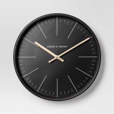 Decorative Wall Clock - Black/Brass - Project 62 - Target