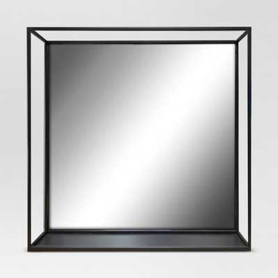 Square Metal Decorative Wall Mirror with Shelf Black - Project 62 - Target