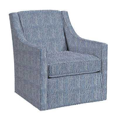 Carlyle Swivel Chair - Quincy Indigo - Ballard Designs