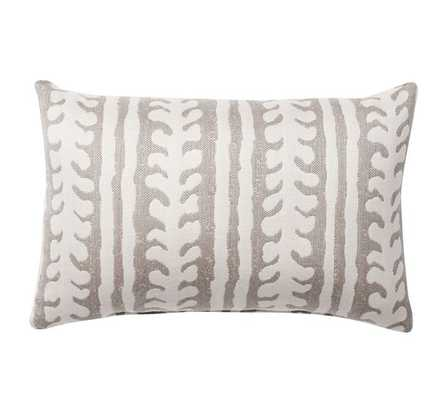 "Sunbrella(R) Saratoga Indoor/Outdoor Pillow, 12 X 18"", Gray - Pottery Barn"