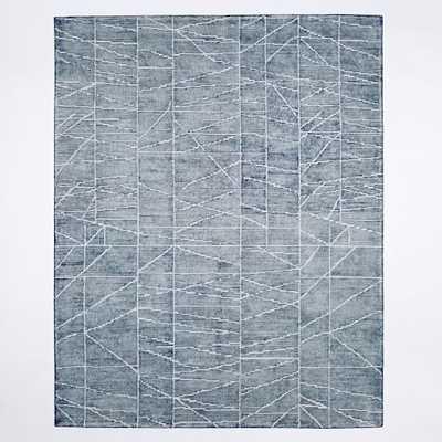 Erased Lines Wool Rug - Blue Lagoon - West Elm