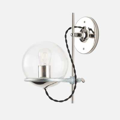 Orbit Sconce - Polished Nickel - Black Cord - Clear Shade - Schoolhouse Electric